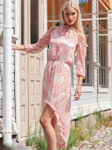 Halterneck high/low dress in pastel pink