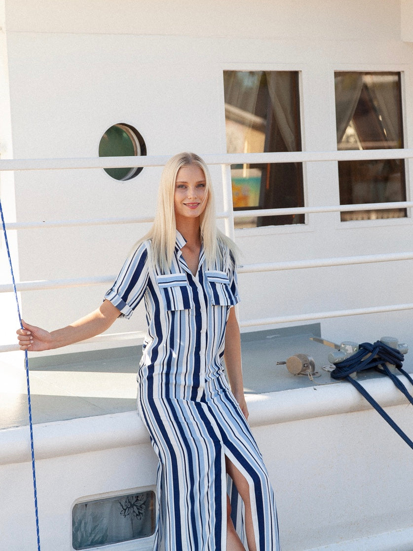 Visby maxi shirt dress with naval stripes on a yacht