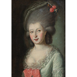 18th-Century Portrait Of A Lady With Roses In Her Hair - Original Framed Painting - Antique Art - Brave Fine Art