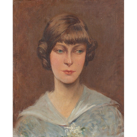 1920s French Portrait Of A Woman In A Blue Top - Original Framed Painting - Vintage Art - Brave Fine Art