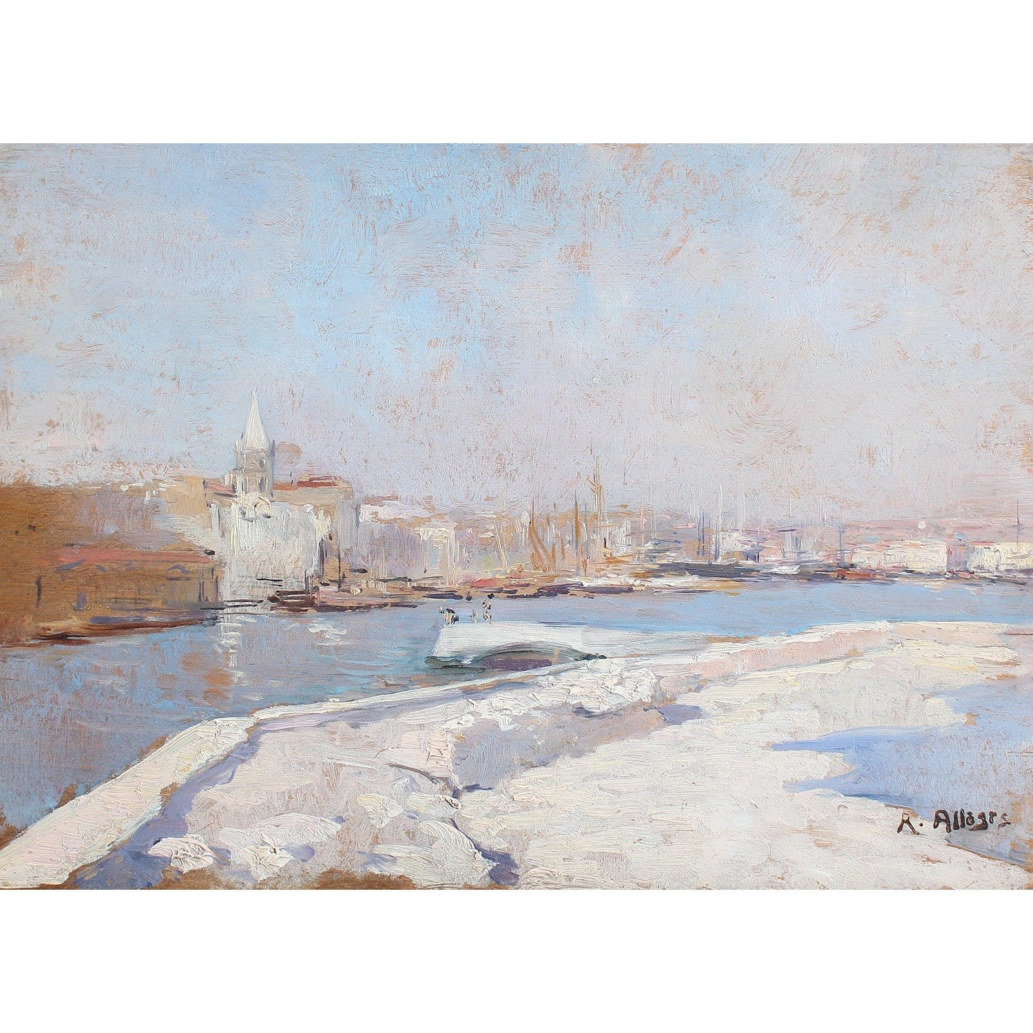 Raymond Allegre, Entrée Du Port De Marseille - Original Framed Painting - Antique Art - Brave Fine Art