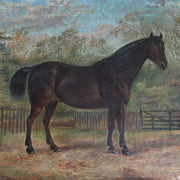 Portrait Of Alonzo, A Dark Brown Stallion - Original Framed Painting - Antique Art - Brave Fine Art