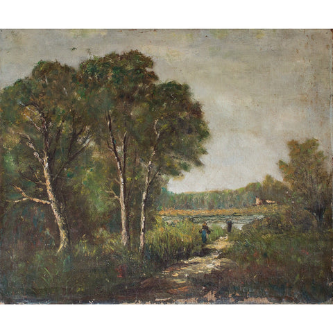 19th-Century Barbizon School Landscape With Figures - Original Framed Painting - Antique Art - Brave Fine Art
