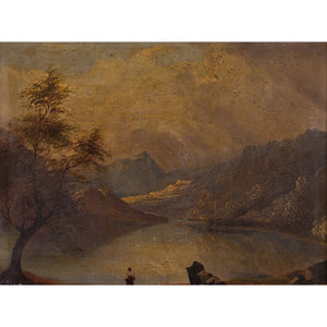Dark Danish School Mountainous Landscape With Lake - Original Framed Painting - Antique Art - Brave Fine Art