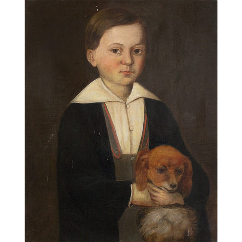 Portrait Of A Boy With A Dachshund - Original Framed Painting - Antique Art - Brave Fine Art