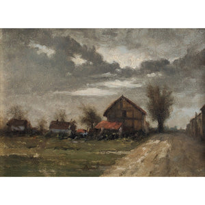 19th Century French School Landscape With Barns - Original Framed Painting - Antique Art - Brave Fine Art