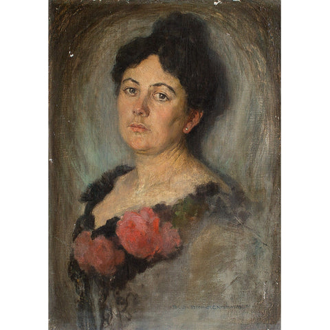 Rudolf Brackenhammer, Portrait Of A Woman - Original Framed Painting - Antique Art - Brave Fine Art