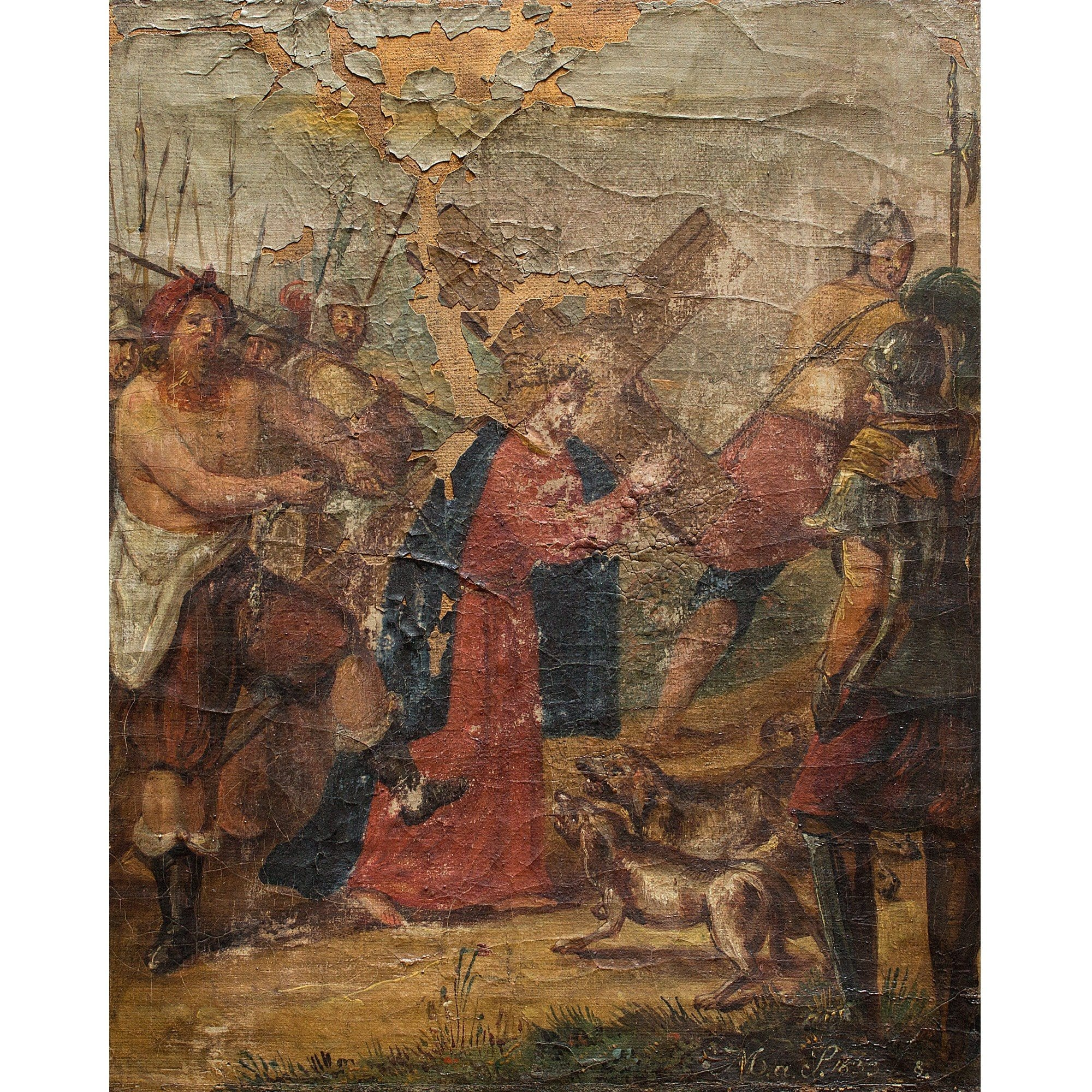 The Road To Calvary - Original Framed Painting - Antique Art - Brave Fine Art