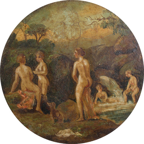Bathing Nymphs In a Brook Miniature - Original Framed Painting - Antique Art - Brave Fine Art