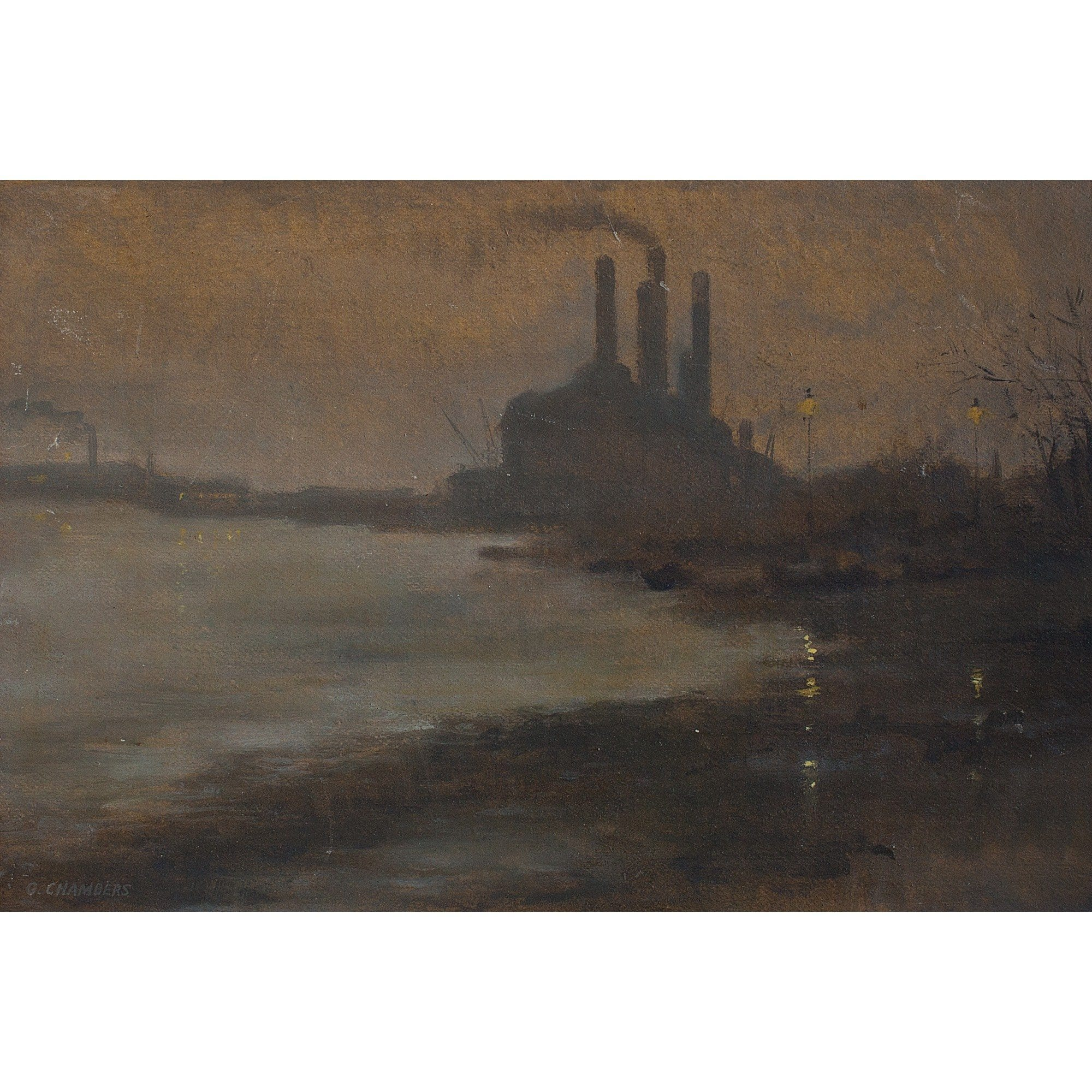 Evening On The Thames By Battersea - Original Framed Painting - Vintage Art - Brave Fine Art