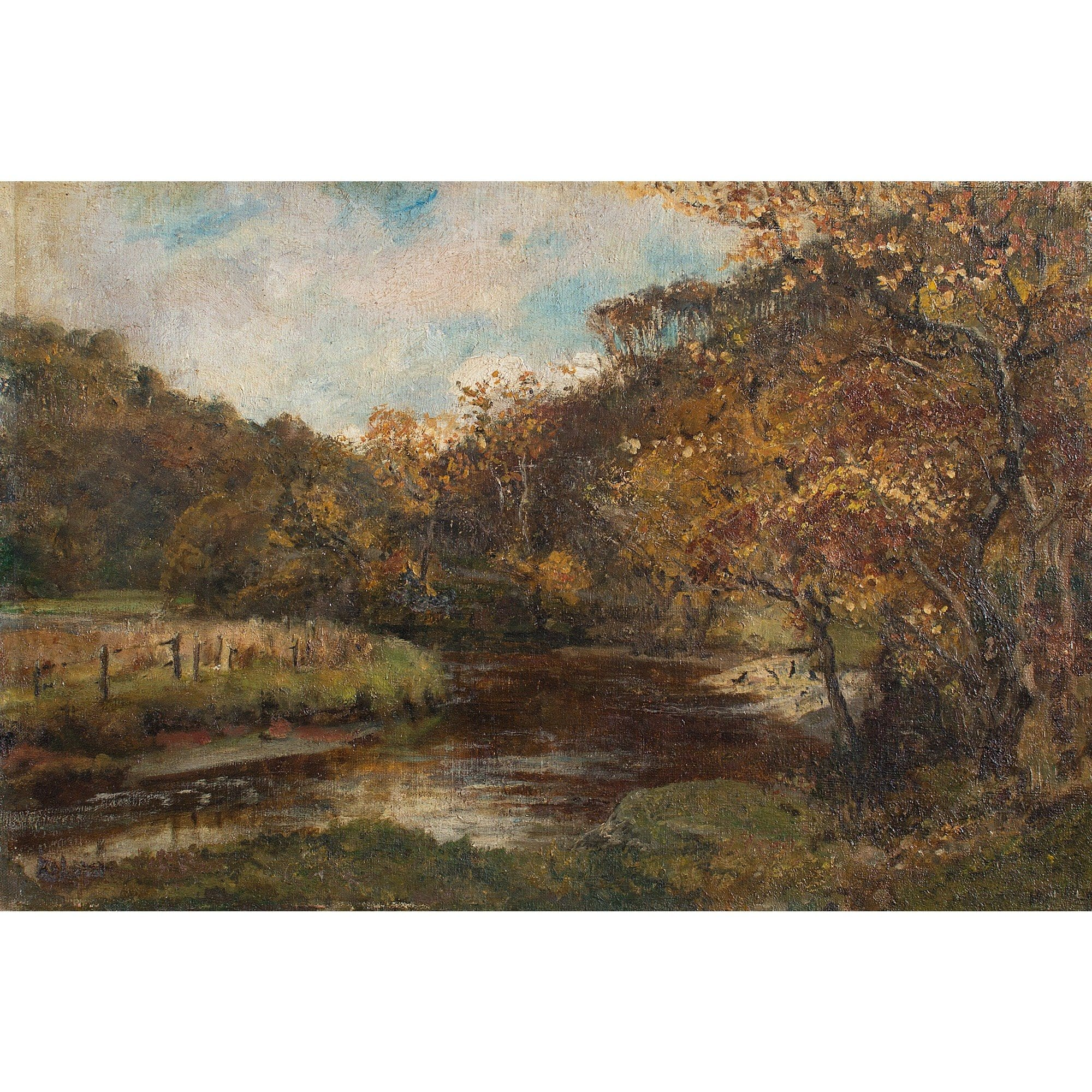 English School Landscape With River - Original Framed Painting - Antique Art - Brave Fine Art