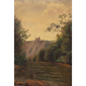 Early 20th-Century French School River Landscape With Ruins