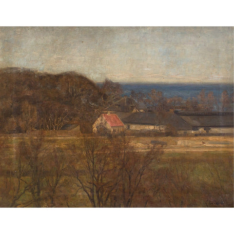 Danish Coastal Landscape With Cottages - Original Framed Painting - Antique Art - Brave Fine Art