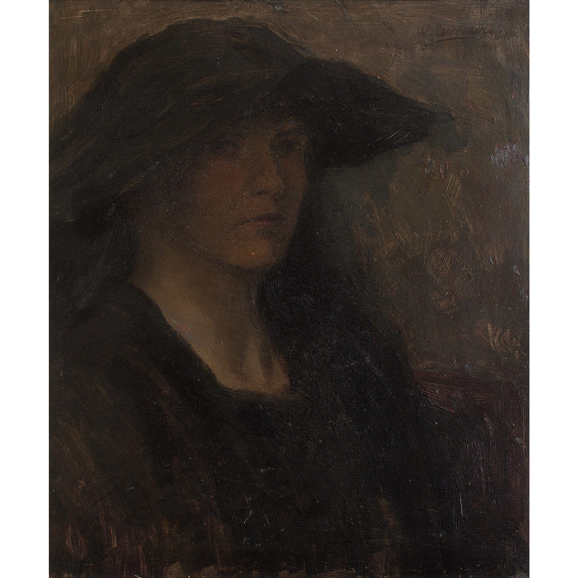 Dark Portrait Of A Lady In A Hat - Original Framed Painting - Antique Art - Brave Fine Art