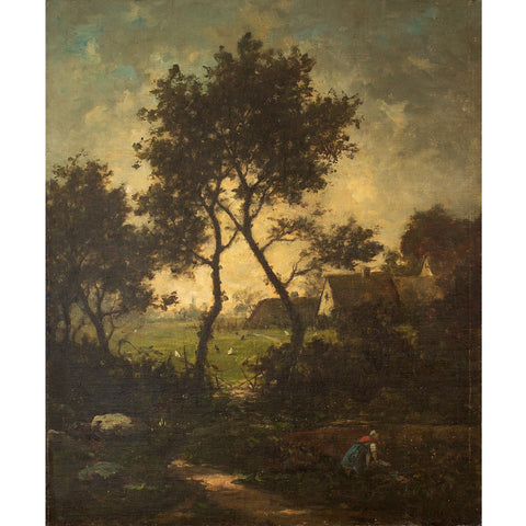 Jules-Louis Dusaussay, Barbizon School Landscape With Cottages, Chickens & Figure