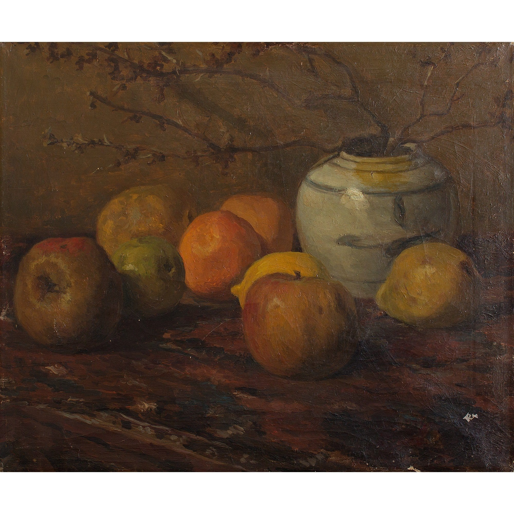 Dutch School Still Life With Vase, Apples, Oranges And Lemons - Original Framed Painting - Antique Art - Brave Fine Art