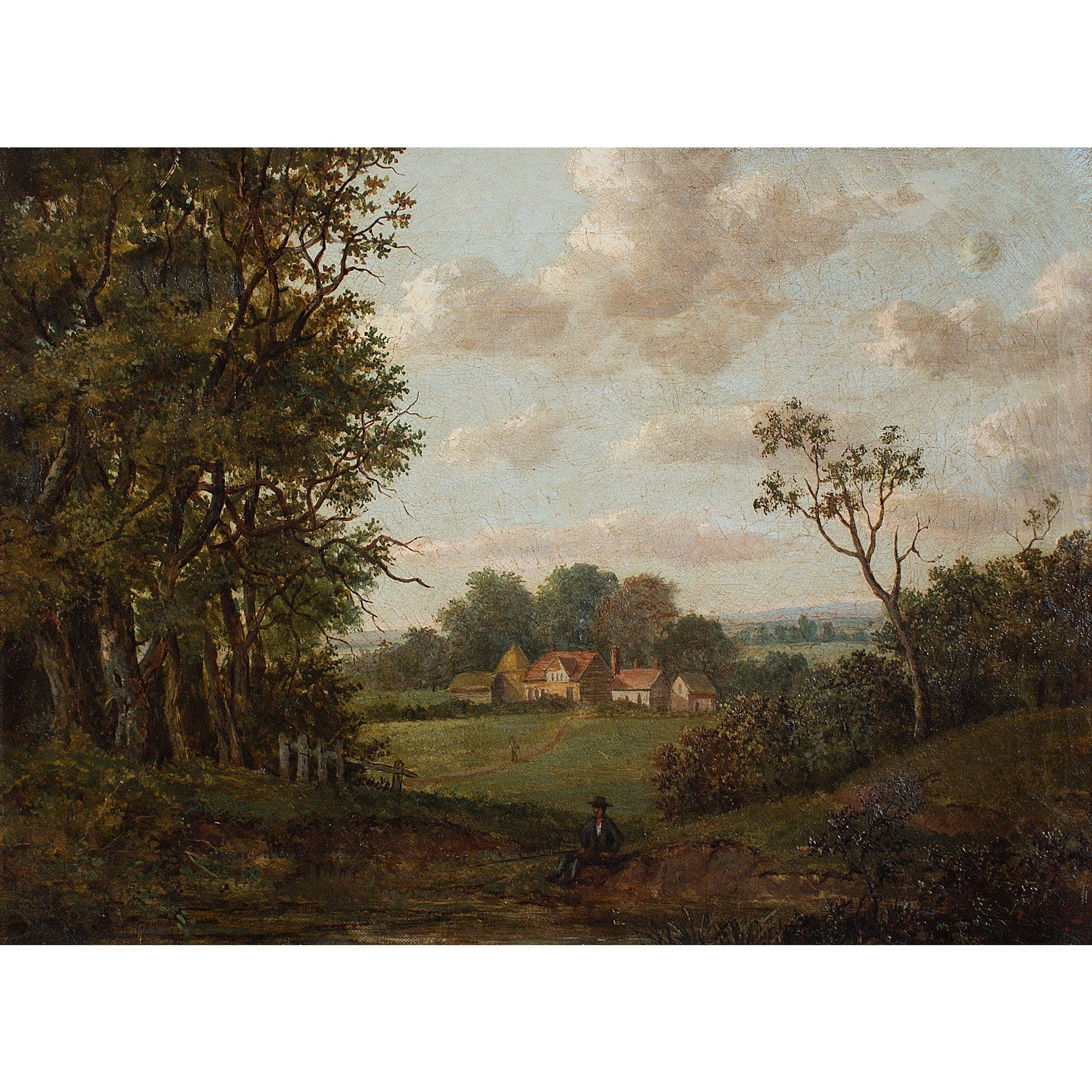 English School Wooded Landscape With Cottages - Original Framed Painting - Antique Art - Brave Fine Art