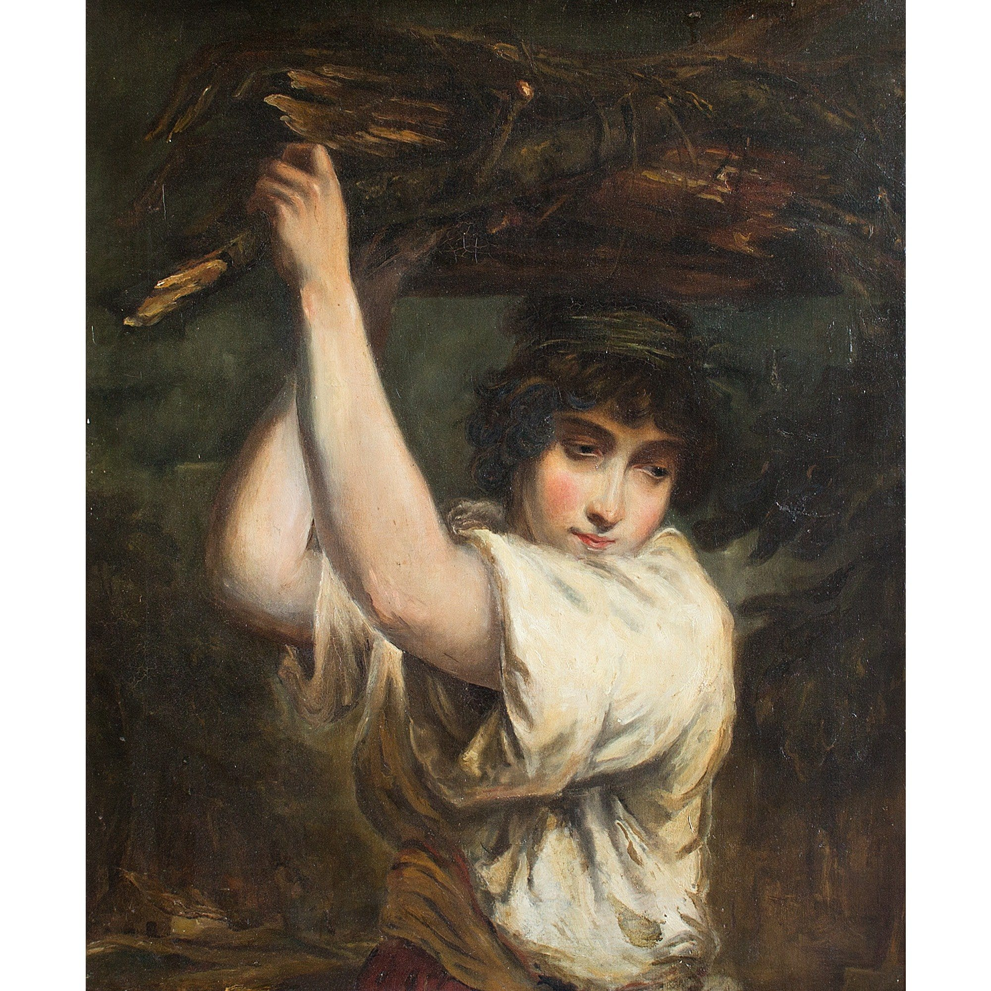 Portrait Of A Girl Carrying Firewood - Original Framed Painting - Antique Art - Brave Fine Art