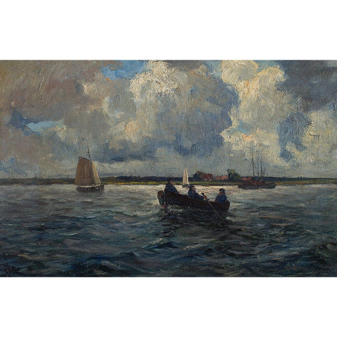 Dutch School Fishermen On the Lake - Original Framed Painting - Antique Art - Brave Fine Art