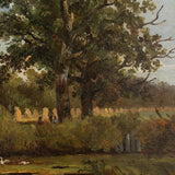 Dutch School, Rural Scene With Oak Tree, Swans & Field-Hands