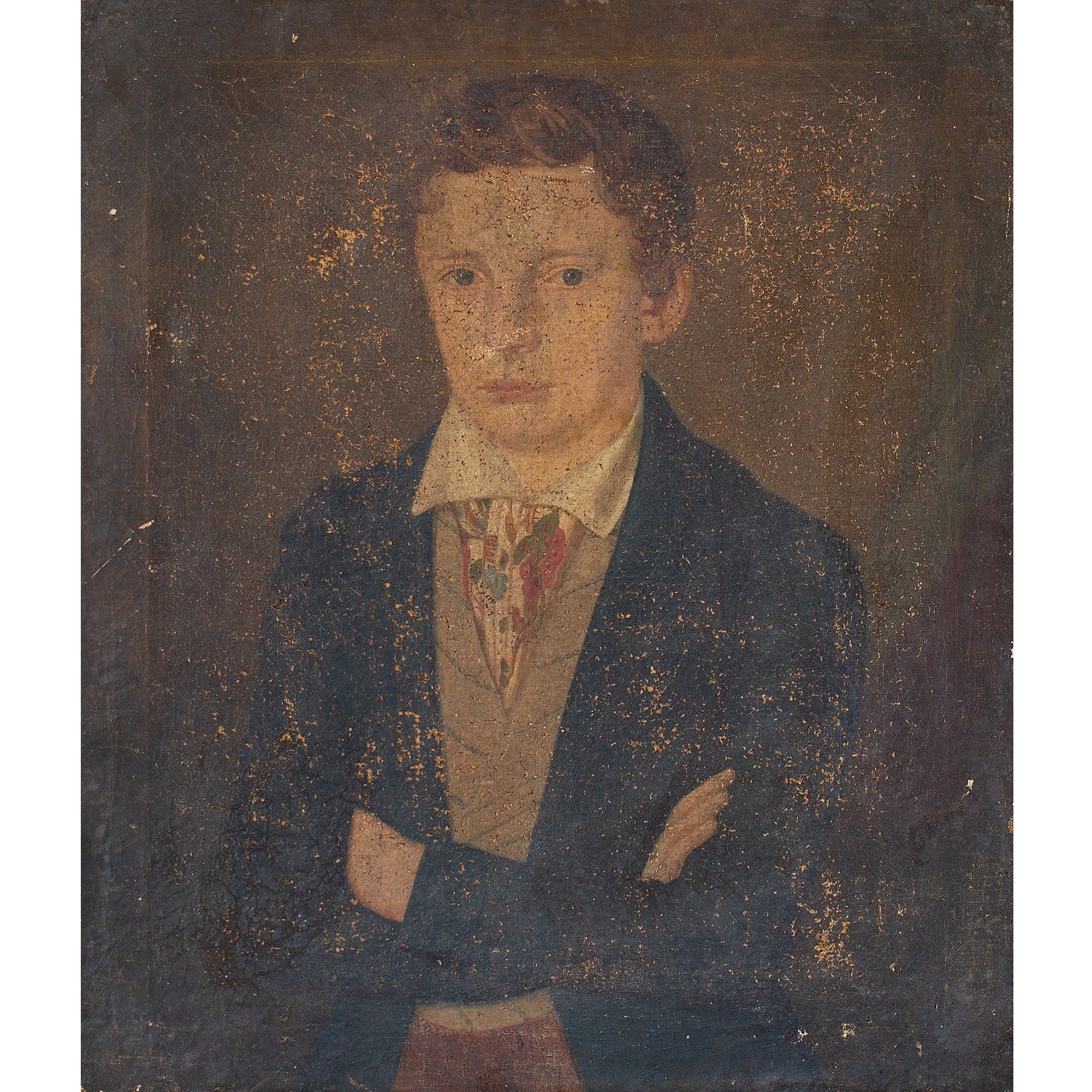 19th-Century French School Portrait Of A Young Man With A Patterned Cravat