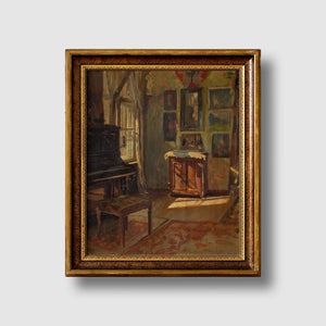Axel Gøtze, Interior Scene With Piano & Paintings
