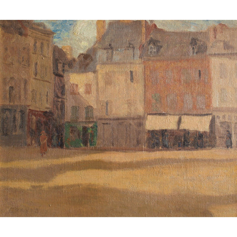 French School Impressionistic View Of A Parisian Square