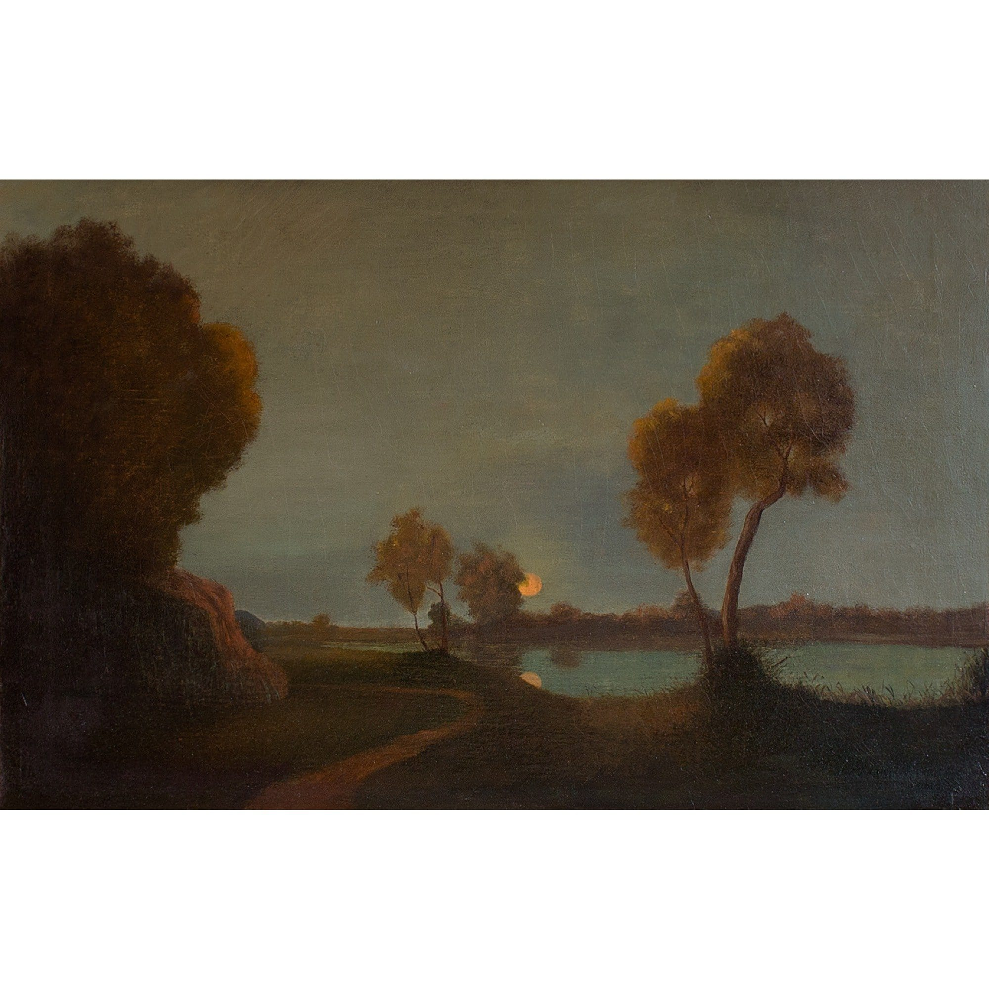 German School River Landscape With Setting Sun