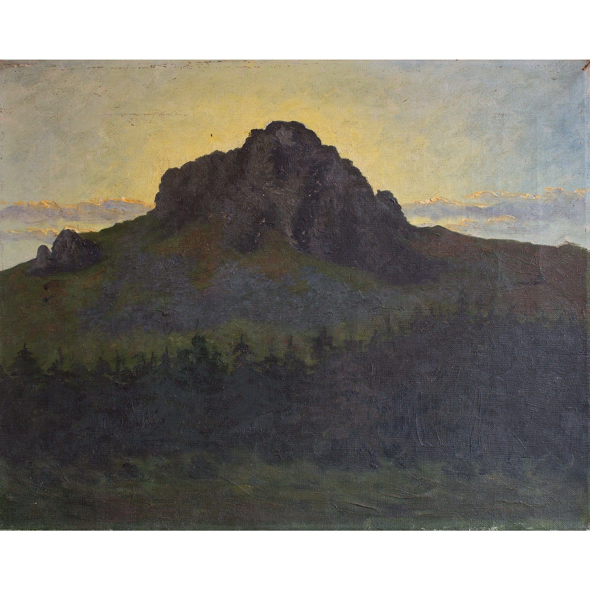 German School Landscape With Mountain View & Sunset