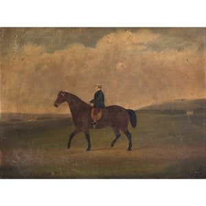 Provincial English School Horse & Rider - Original Framed Painting - Antique Art - Brave Fine Art