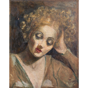 Italian Portrait Of A Woman With Curly Hair - Original Framed Painting - Vintage Art - Brave Fine Art