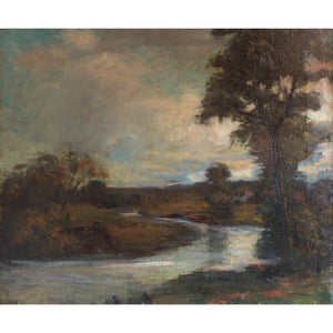 French School River Landscape With Trees