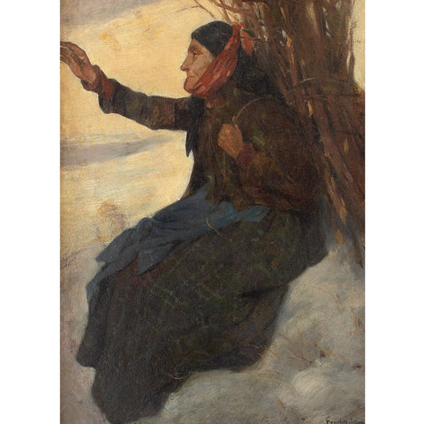 Adolf Meissner, A Woodcutter In The Snow