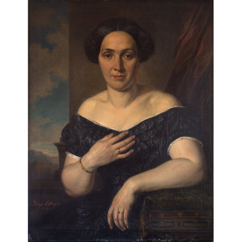 August Georg Mayer, Portrait Of A Lady With A Black Dress
