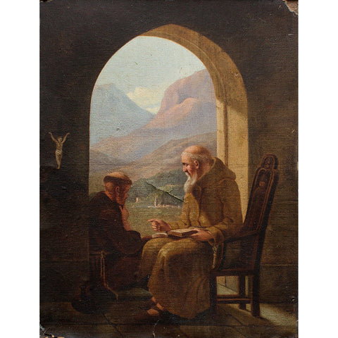 After Christian Andreas Schleisner, Two Monks In A Monastery - Original Framed Painting - Antique Art - Brave Fine Art