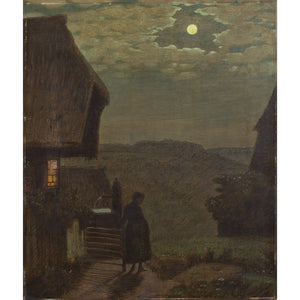 Nocturne With Woman, Cottage and Full Moon - Original Framed Painting - Vintage Art - Brave Fine Art