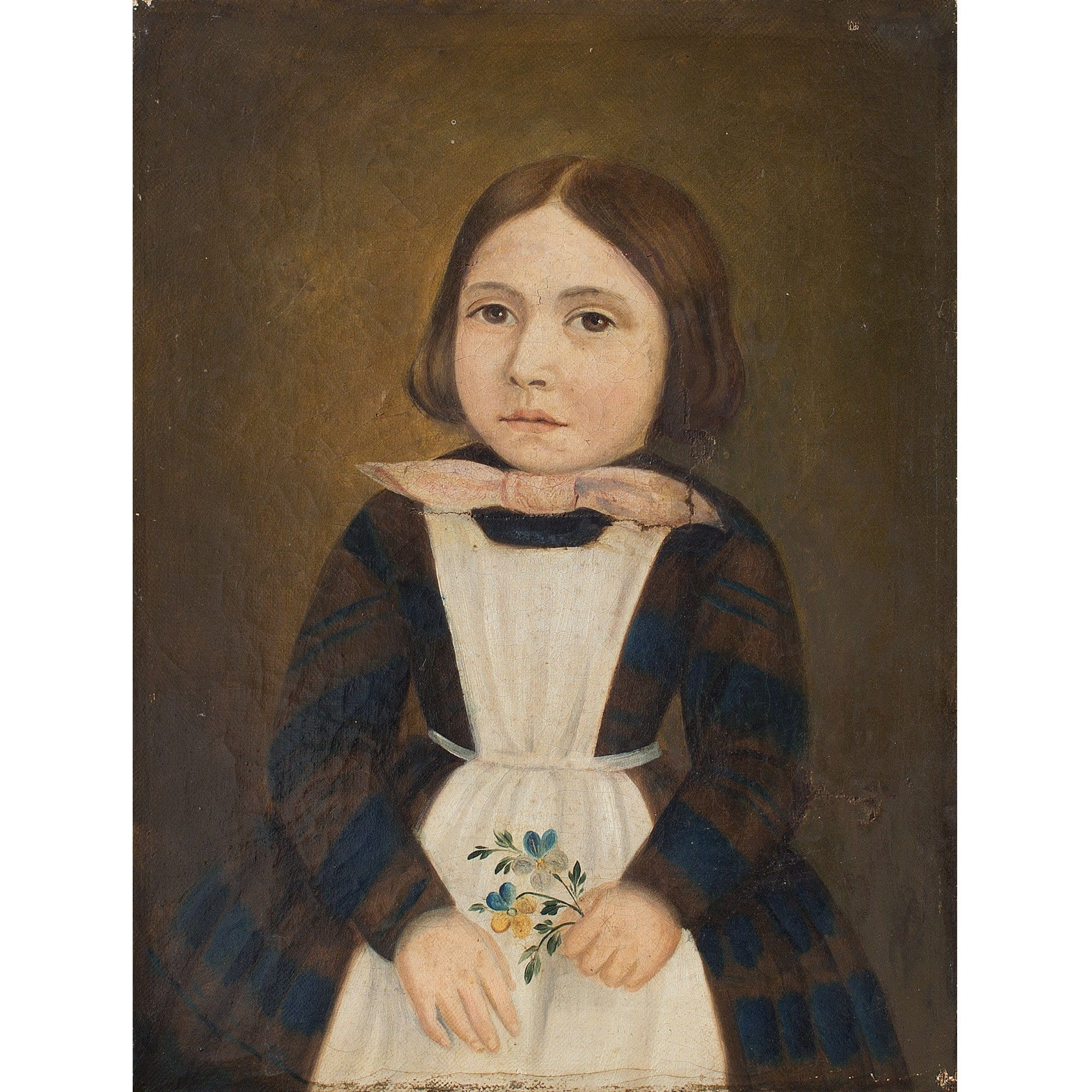 Provincial Swiss School Portrait Of A Girl Holding Flowers