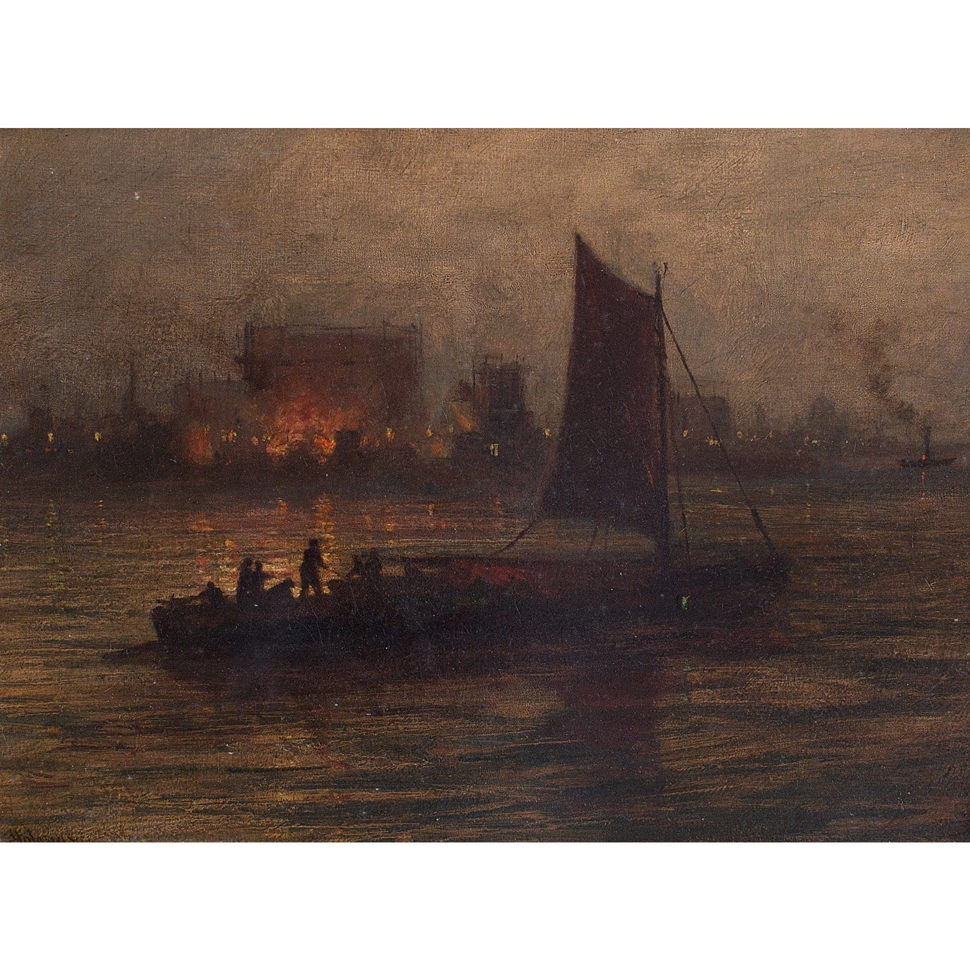 Night Fire, 19th-Century Harbour Scene - Original Framed Painting - Antique Art - Brave Fine Art