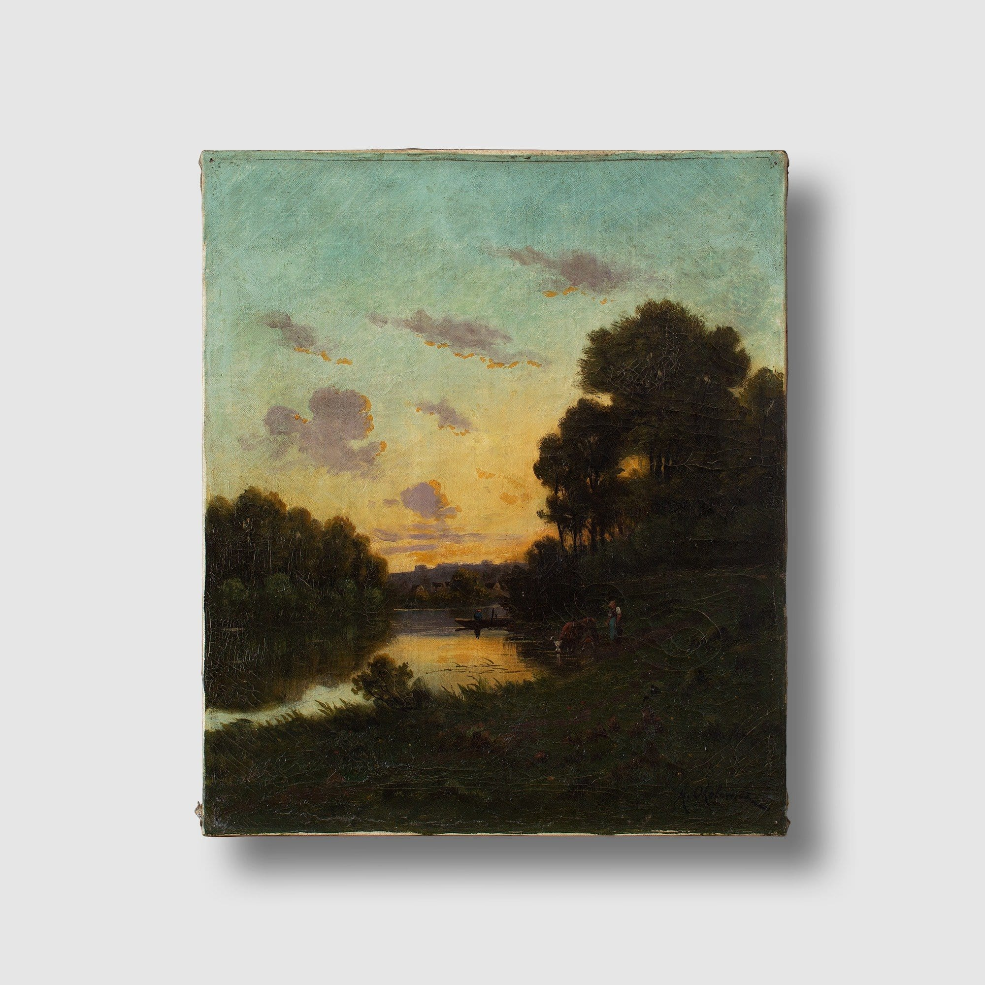 Nicolaï Alexandovitch Okolowicz, River Landscape With Sunset, Fisherman & Cattle