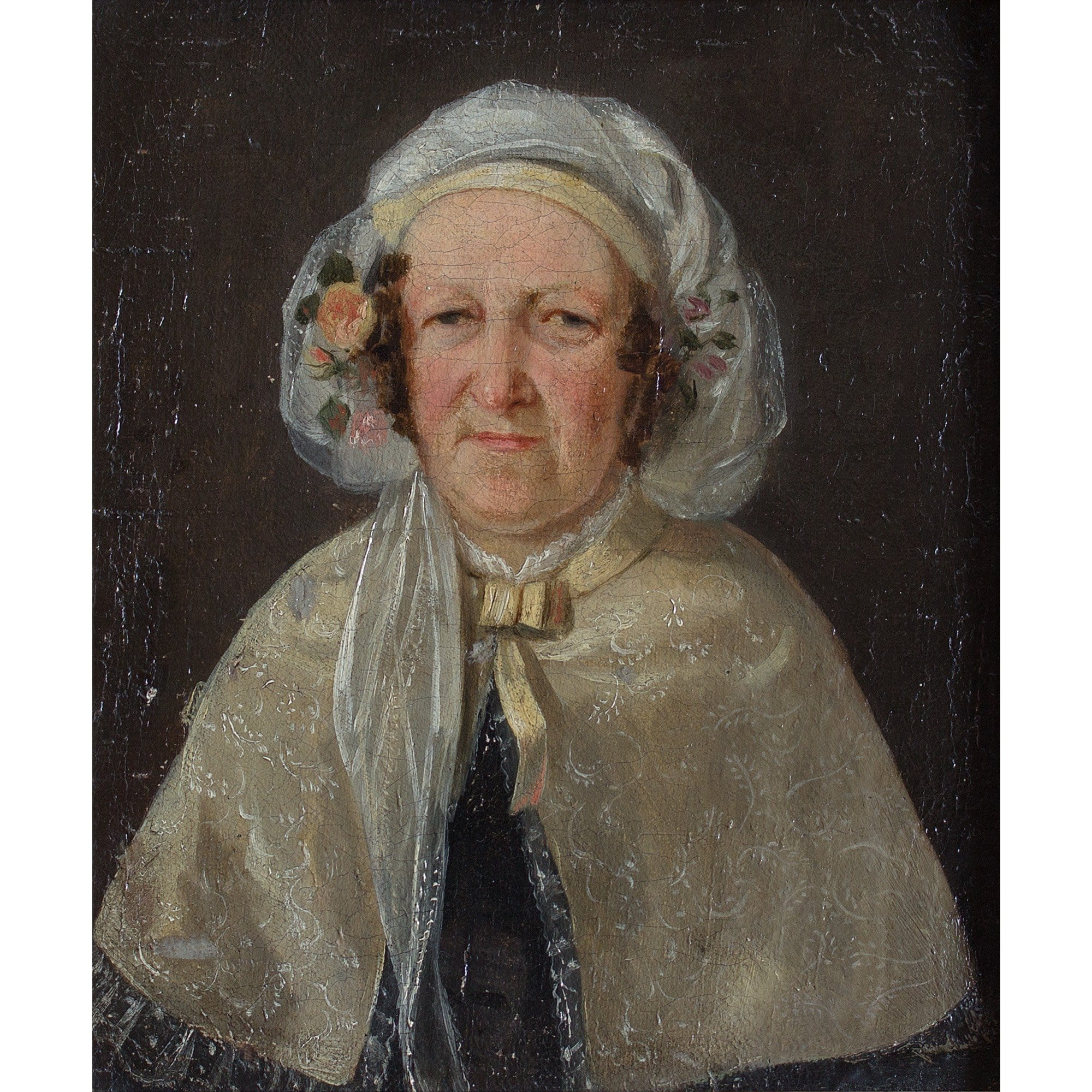 Danish School Portrait Of A Lady With A Floral Bonnet