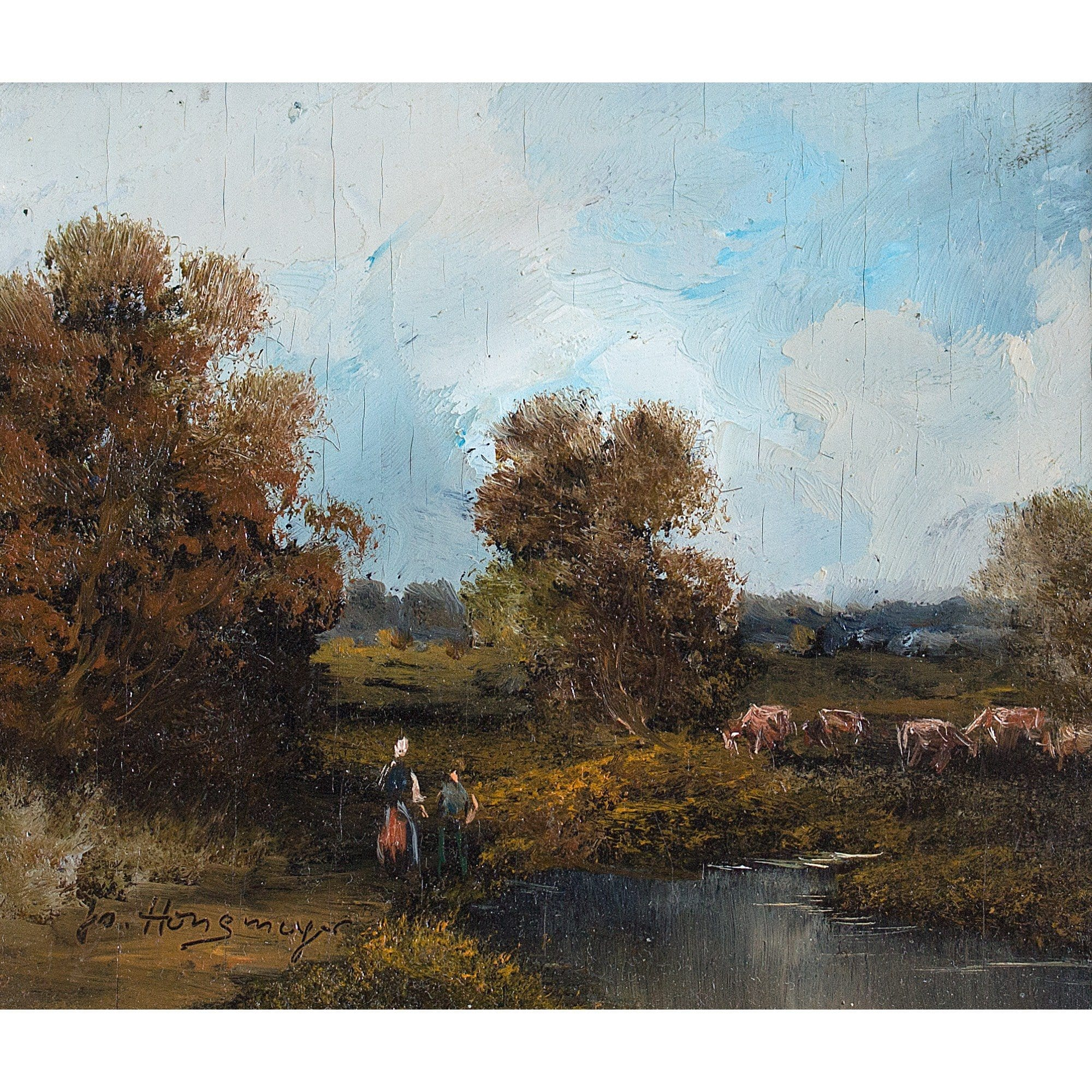 Miniature Pastoral Scene With Figures - Original Framed Painting - Vintage Art - Brave Fine Art