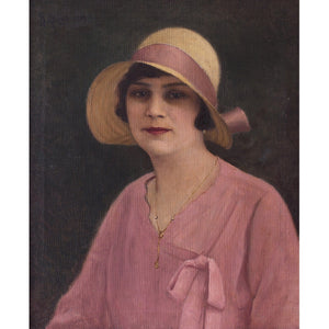 Hungarian School Portrait Of A Woman In Pink
