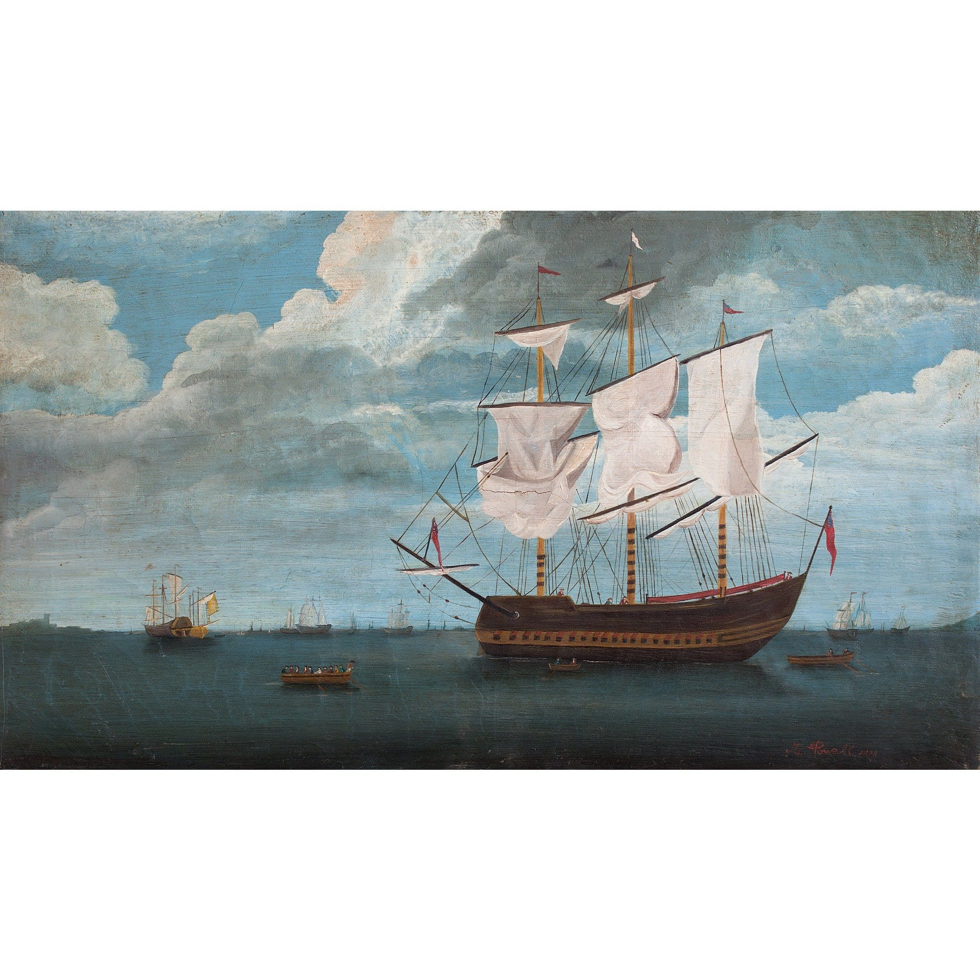 Provincial 19th-Century British Maritime Scene - Original Framed Painting - Antique Art - Brave Fine Art