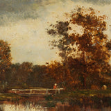 Reserved - 19th-Century Barbizon School Landscape With Fisherman
