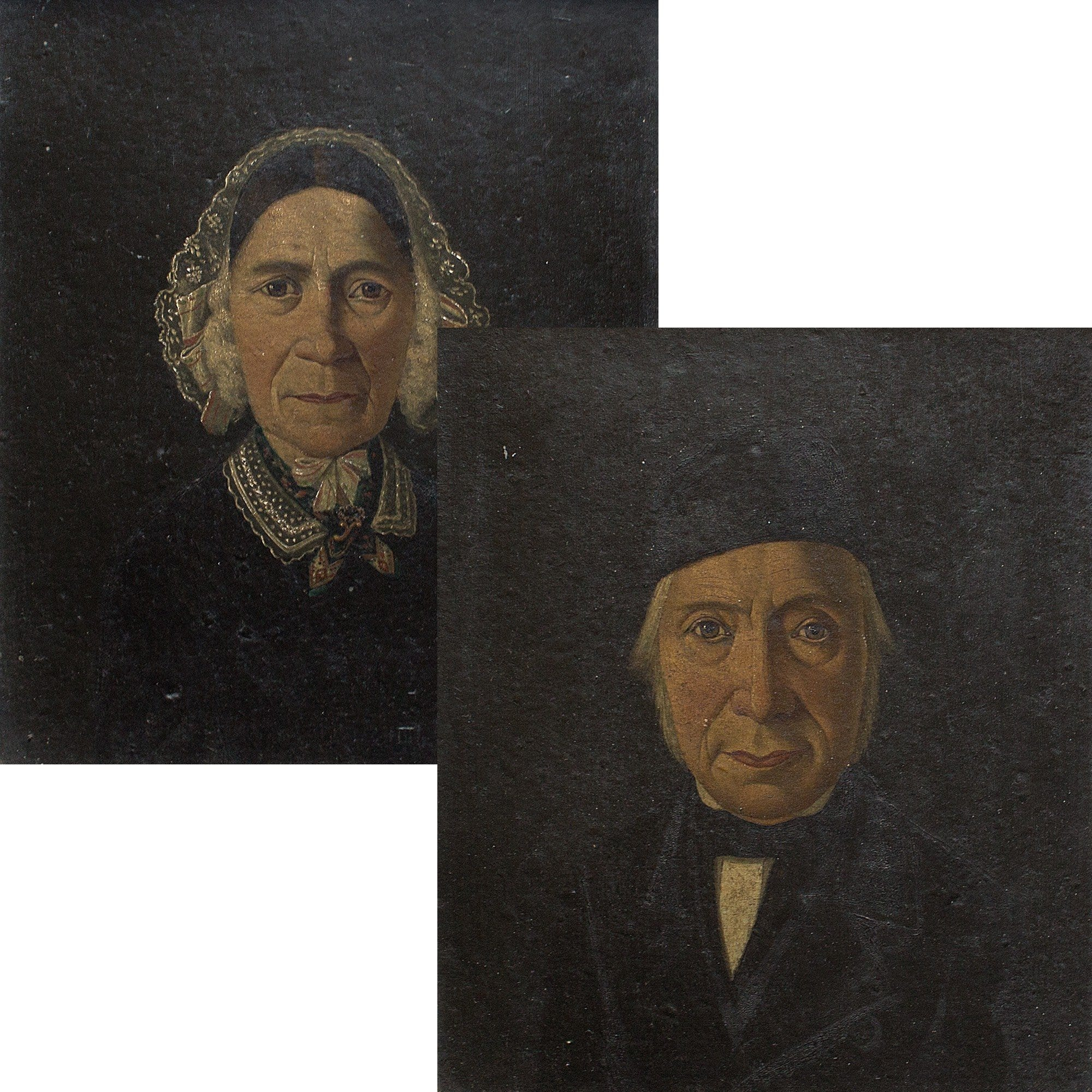Pair Of Danish Family Portraits - Original Framed Painting - Antique Art - Brave Fine Art