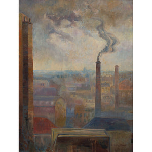 Reserved - Brita Von Sydow Södöö, Cityscape With Chimneys - Original Framed Painting - Vintage Art - Brave Fine Art