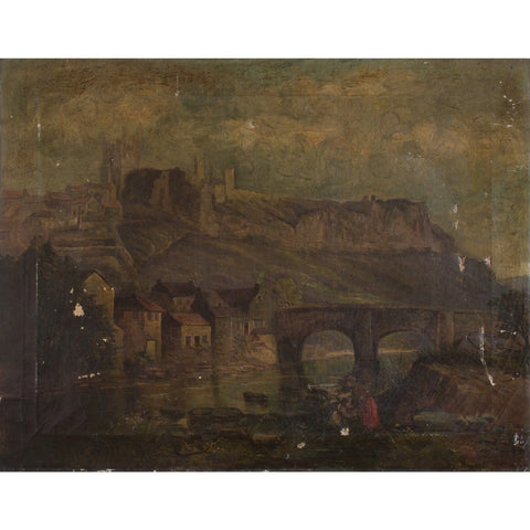 Worn Classical Riverside Landscape With Figures - Original Framed Painting - Antique Art - Brave Fine Art