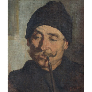 Hans Tschelan, Portrait Of A Gentleman With A Pipe