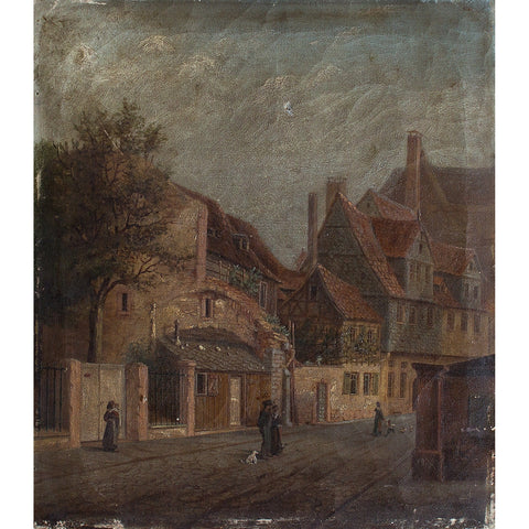 Georg Adam Strohecker, Village Scene With Figures - Original Framed Painting - Antique Art - Brave Fine Art