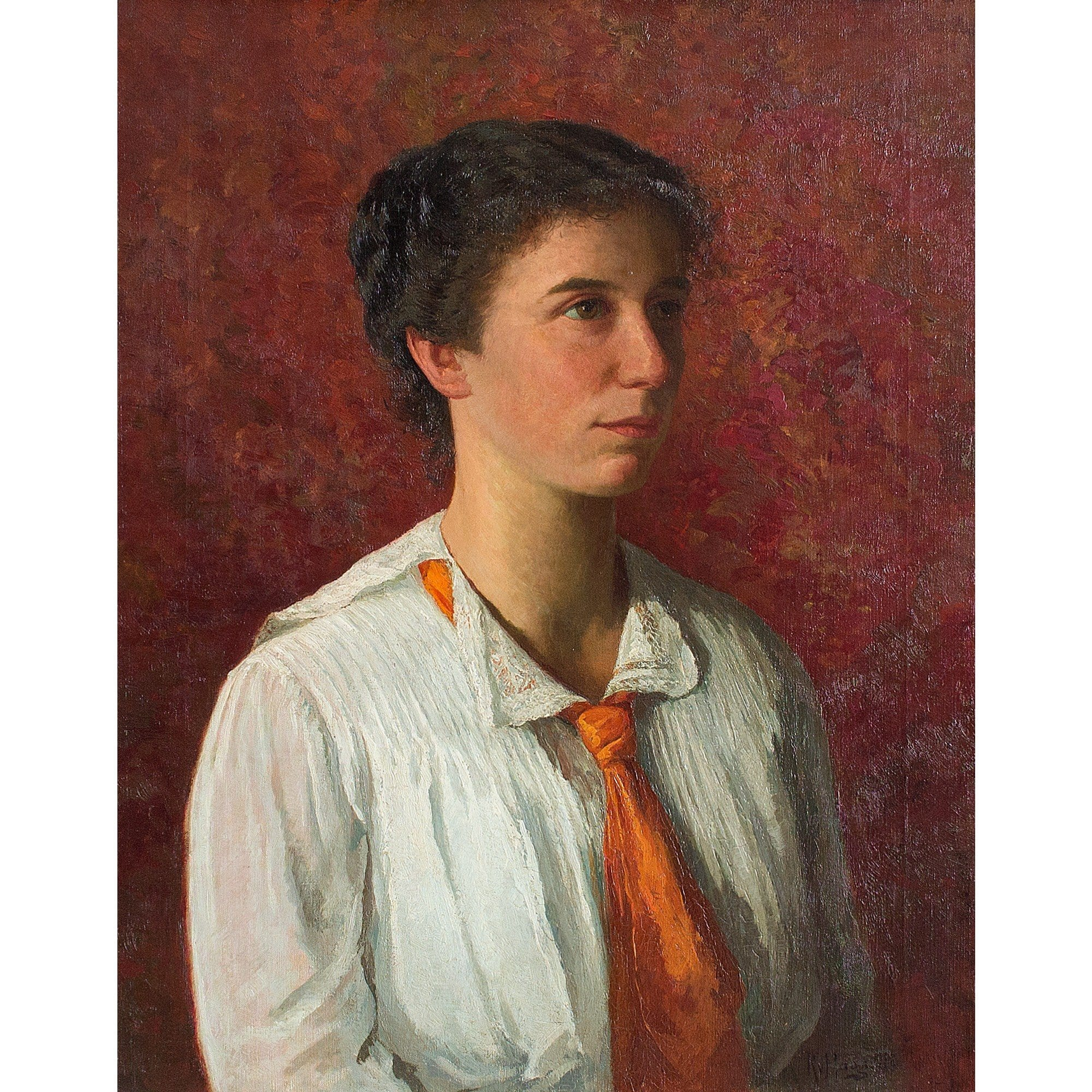 Reserved - Richard Von Hagn, Portrait Of A Young Lady In An Orange Necktie - Original Framed Painting - Antique Art - Brave Fine Art